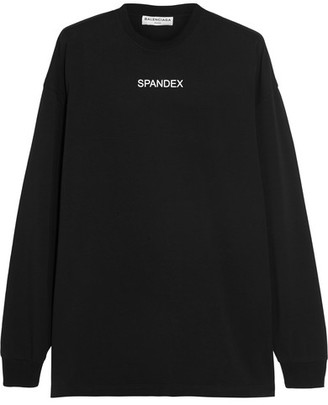 Balenciaga - Oversized Printed Stretch-cotton Jersey Sweatshirt - Black $355 thestylecure.com