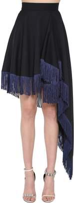 Calvin Klein Asymmetrical Wool Twill Fringed Skirt