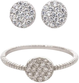 Earthy Chic Boutique Classic Pave Disk Ring & Earring Set