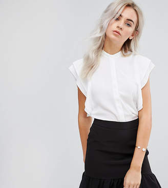 Asos DESIGN Petite blouse with frill shoulder