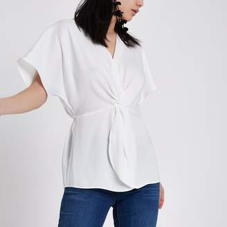 River Island Womens White satin knot front shirt
