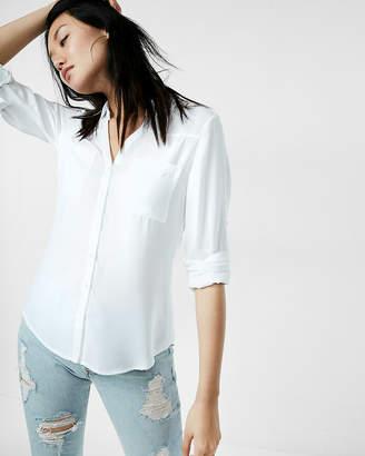 a3055a7a2697 at Express · Express Slim Fit Convertible Sleeve Portofino Shirt