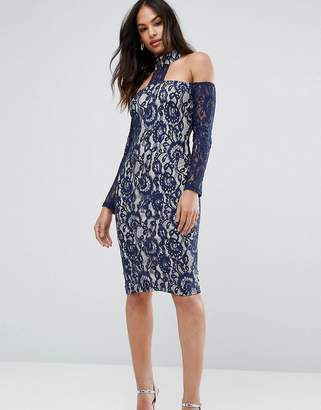 AX Paris Navy Long Sleeved Bardot Midi Dress