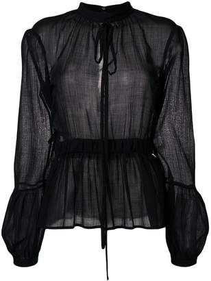 Rochas sheer peplum blouse