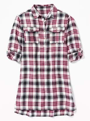 Old Navy Plaid Flannel Utility Shirt Dress for Girls