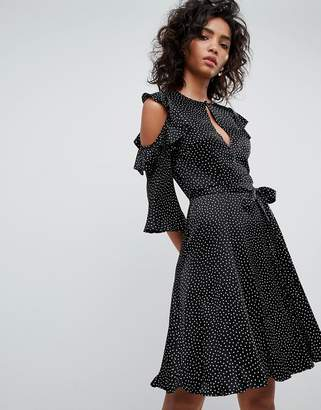 Ghost Cold Shoulder Dress With Frill Detail