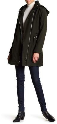 Via Spiga Faux Fur Lined Asymmetrical Military Soft Shell Jacket