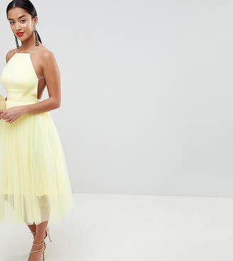 Asos DESIGN Petite premium scuba pinny midi tulle dress