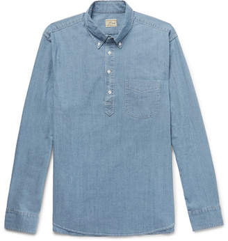 J.Crew Button-Down Collar Stretch-Cotton Chambray Half-Placket Shirt