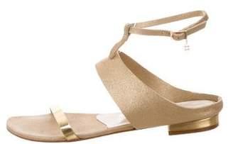 Oscar de la Renta Leather Ankle Strap Sandals