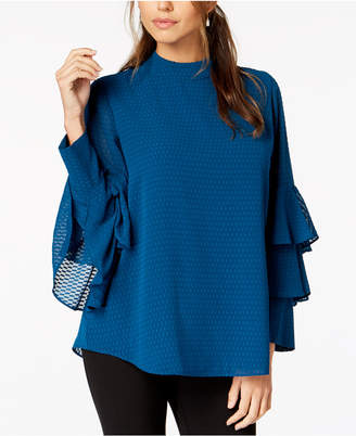 Alfani Textured Tiered-Sleeve Top, Created for Macy's