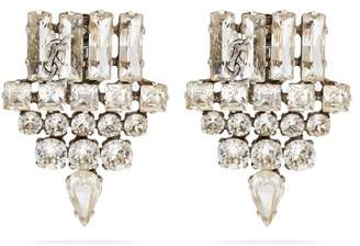 Saint Laurent Crystal Arrow Clip On Earrings - Womens - Crystal