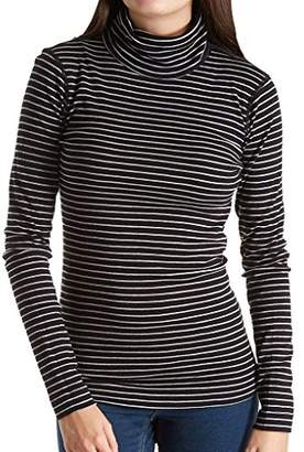Three Dots Women's Tahoe Stripe L/s Turtleneck Tight Short Shirt
