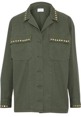 Sandro Studded Cotton And Linen-Blend Twill Jacket