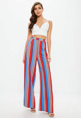 Missguided Red Multi Colored Striped Wide Leg Pants
