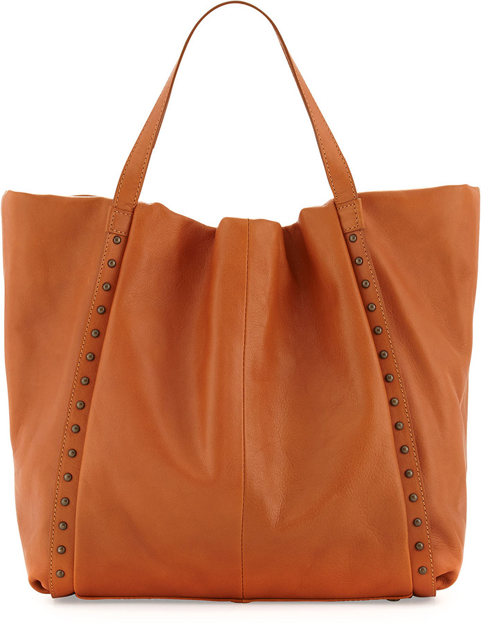 Neiman Marcus Stud-Trimmed Slouchy Italian Leather Tote Bag, Camel
