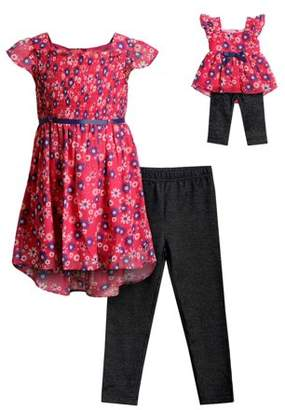 a7f377eaab3d9 Dollie & Me Floral Smocked Mini Dress and Legging, 2-Piece Outfit Set With