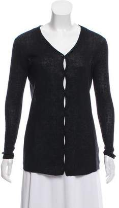 Calvin Klein Collection Rib-Knit Linen Cardigan
