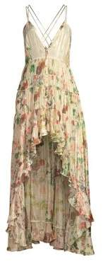 Rococo Sand Women's Plunging High-Low Ruffle Dress - White - Size Small