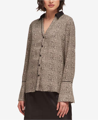 DKNY Printed Button-Front Shirt