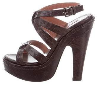 Alaia Lizard Platform Sandals