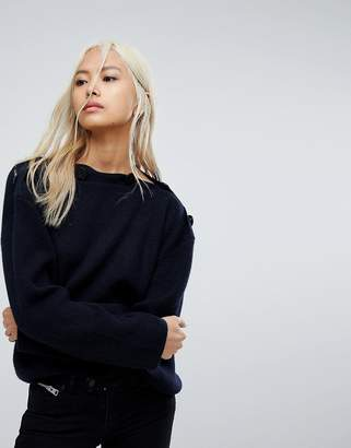 AllSaints Faye Oversized Slash Neck Jumper