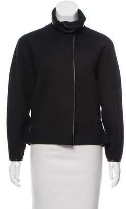 J Brand Leather-Trimmed Wool Jacket