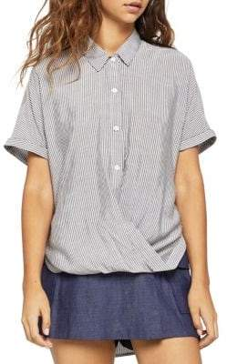 BCBGeneration Striped Button-Up Wrap Shirt