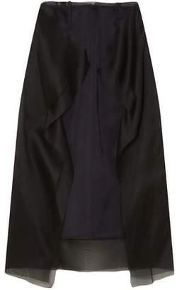 Maison Margiela Ruffled Satin And Silk-organza Midi Skirt