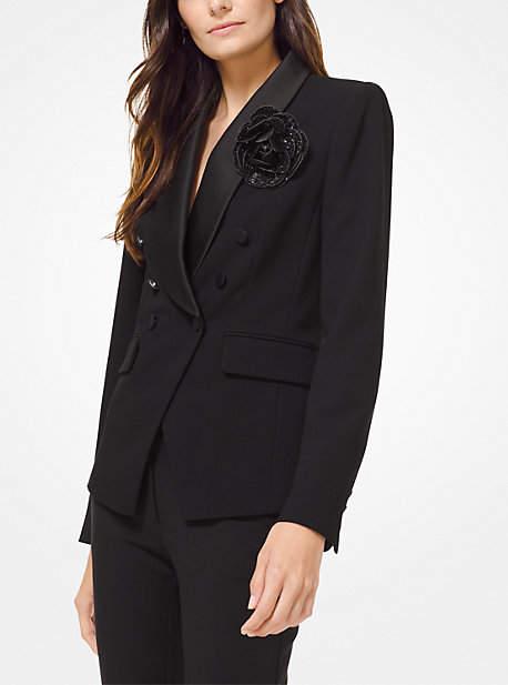 Rose Brooch Tuxedo Blazer