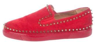 Christian Louboutin Pik Boat Suede Slip-On Sneakers