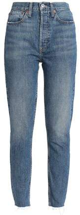 Frayed Cropped High-Rise Slim-Leg Jeans