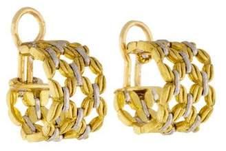 Buccellati 18K Two-Tone Link Hoop Earrings