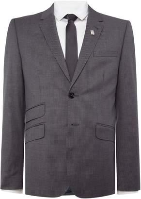 Ted Baker Men's Single Breasted Giraffe Tonal Check Suit Jacket