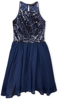 Miss Behave (Girls 7-16) Navy Sequin Fit & Flare Dress
