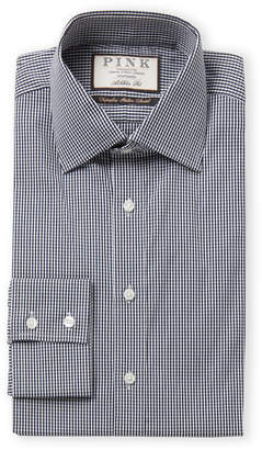 Thomas Pink Navy & White Check Athletic Fit Dress Shirt