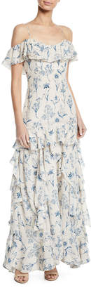 Johanna Ortiz Up All Night Cold-Shoulder Floral-Print Ruffled-Tiered Long Cami Dress