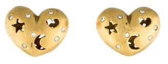 Diamond Heart, Moon & Star Earrings