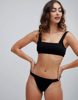Motel micro crinkle black bikini bottoms