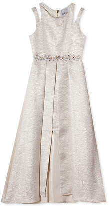 Rare Editions Big Girls Brocade Pleated Overlay Party Dress