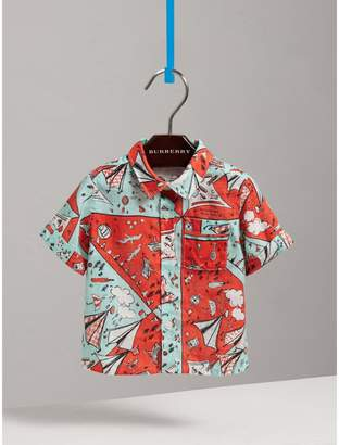 Burberry Short-sleeve Picnic Print Linen Shirt