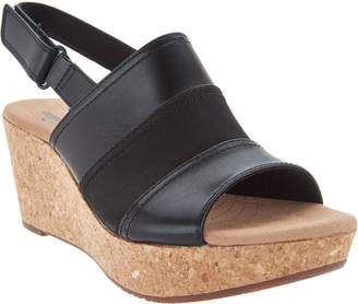 Clarks Leather Cork Wedge Adjustable Sandals - Annadel Janis