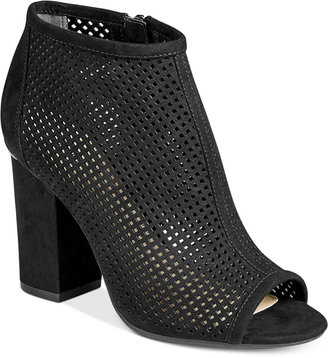Bar Iii Megan Perforated Peep-Toe Block-Heel Booties, Only at Macy's Women's Shoes $109.50 thestylecure.com