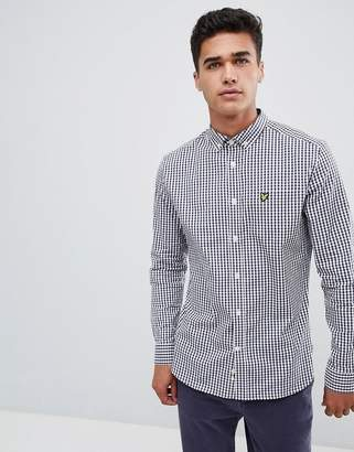 Lyle & Scott Slim Fit Buttondown Gingham Check Shirt With Stretch In Navy