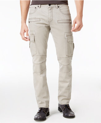 INC International Concepts Men's Slim Straight Fit Gray Cotton Cargo Pants, Only at Macy's $79.50 thestylecure.com