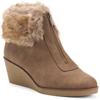Faux Fur Comfort Wedge Booties