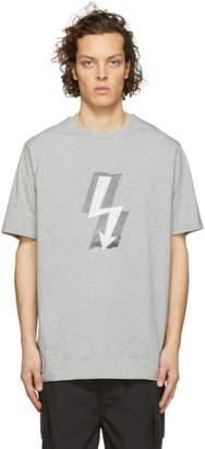 Neil Barrett Grey Taped Lightning Bolt T-Shirt