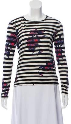 Proenza Schouler Floral Print Striped Top