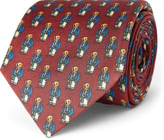 Ralph Lauren Preppy Bear Silk Narrow Tie