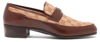 Gucci - High Loomis Gg Canvas And Leather Loafers - Mens - Brown Multi